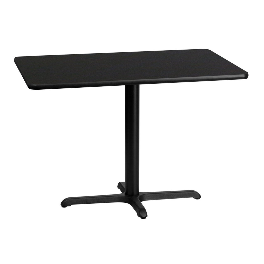 30'' x 42'' Rectangular Black Laminate Table Top with 22'' x 30'' Table Height Base