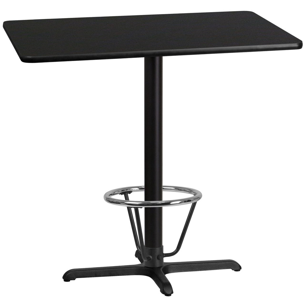 30'' x 42'' Rectangular Black Laminate Table Top with 22'' x 30'' Bar Height Table Base and Foot Ring
