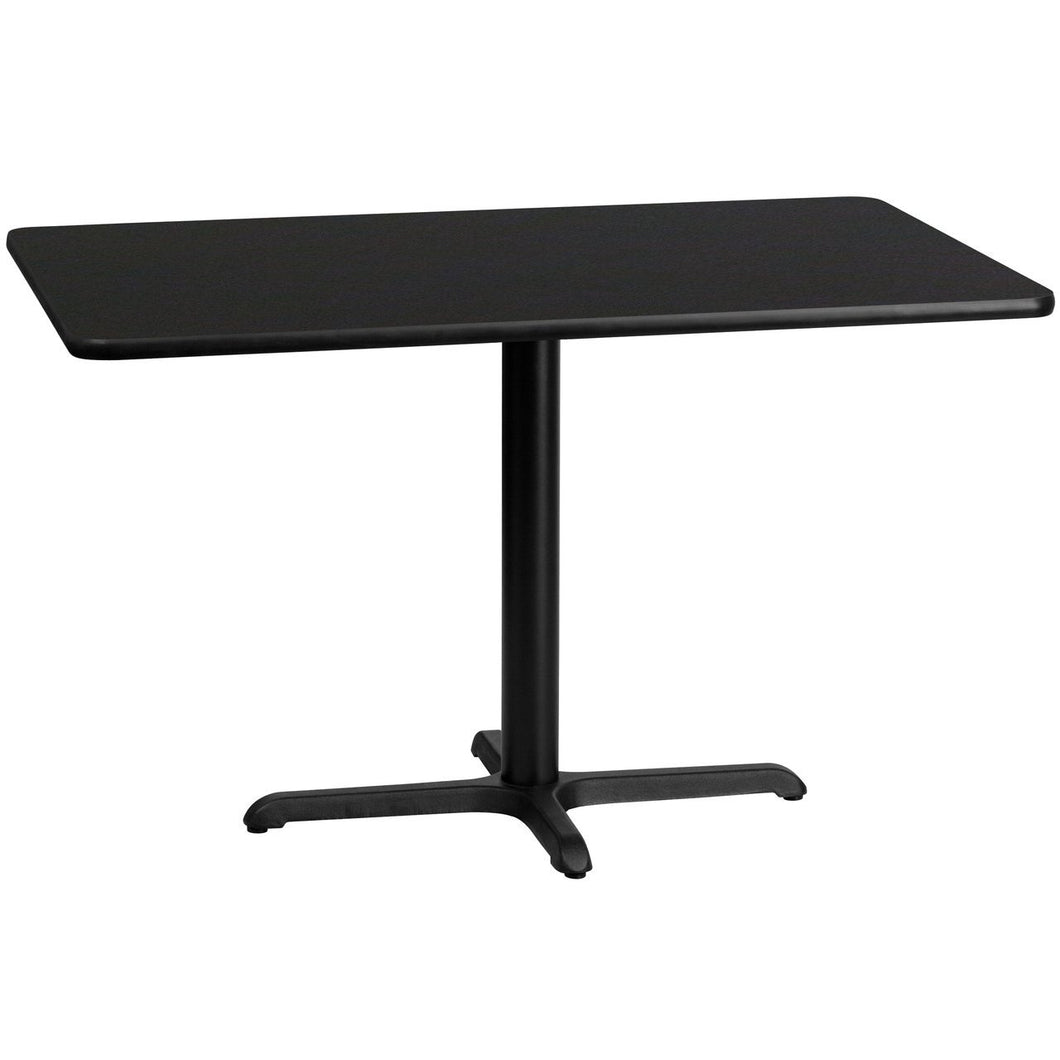 30'' x 48'' Rectangular Black Laminate Table Top with 22'' x 30'' Table Height Base