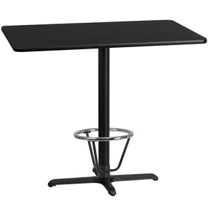 30'' x 48'' Rectangular Black Laminate Table Top with 22'' x 30'' Bar Height Table Base and Foot Ring