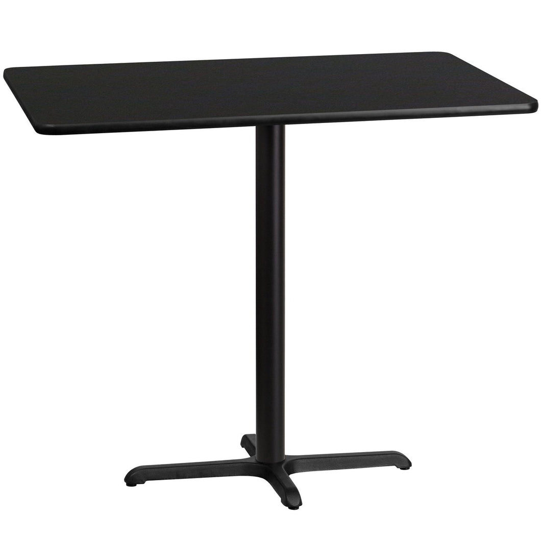 30'' x 48'' Rectangular Black Laminate Table Top with 22'' x 30'' Bar Height Table Base