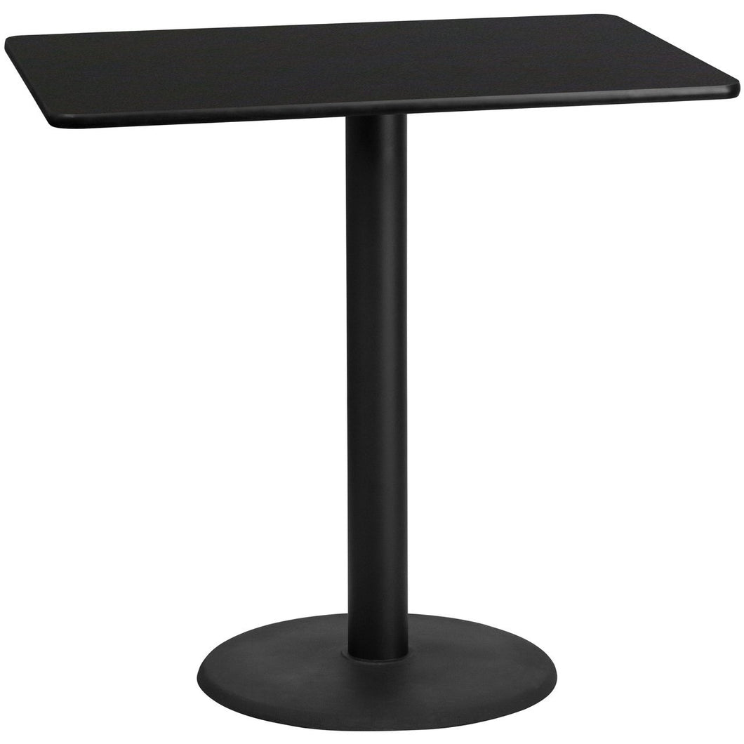 30'' x 48'' Rectangular Black Laminate Table Top with 24'' Round Bar Height Table Base