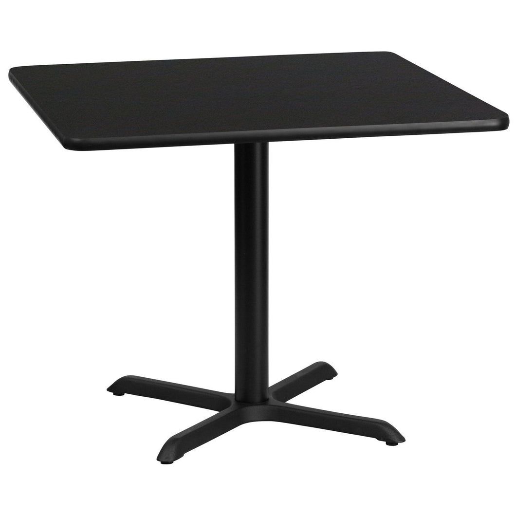 36'' Square Black Laminate Table Top with 30'' x 30'' Table Height Base