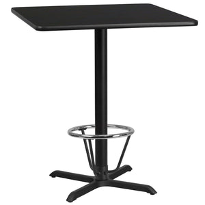 36'' Square Black Laminate Table Top with 30'' x 30'' Bar Height Table Base and Foot Ring