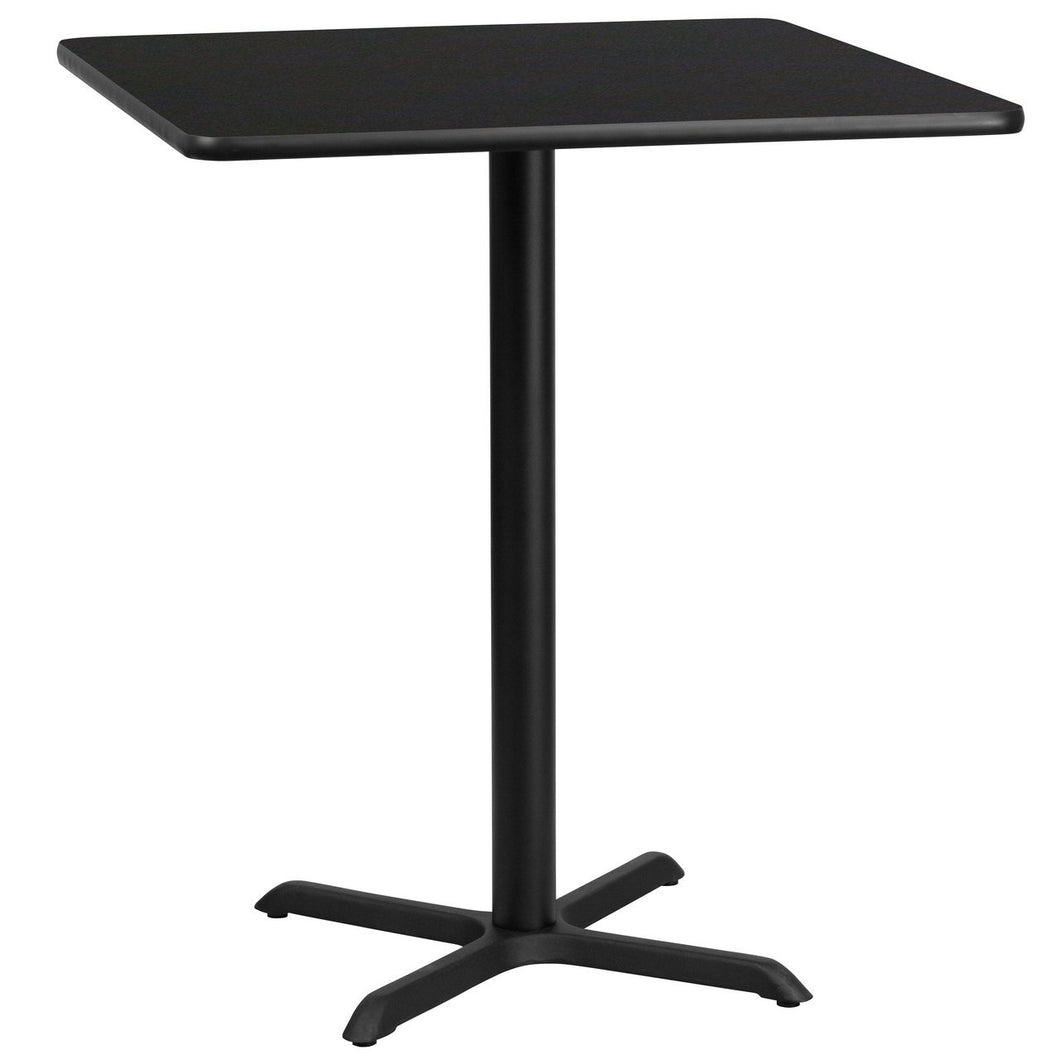 36'' Square Black Laminate Table Top with 30'' x 30'' Bar Height Table Base