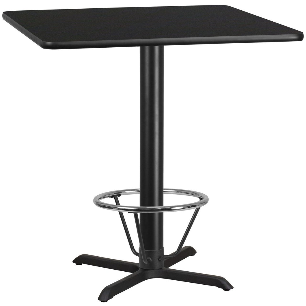 42'' Square Black Laminate Table Top with 33'' x 33'' Bar Height Table Base and Foot Ring