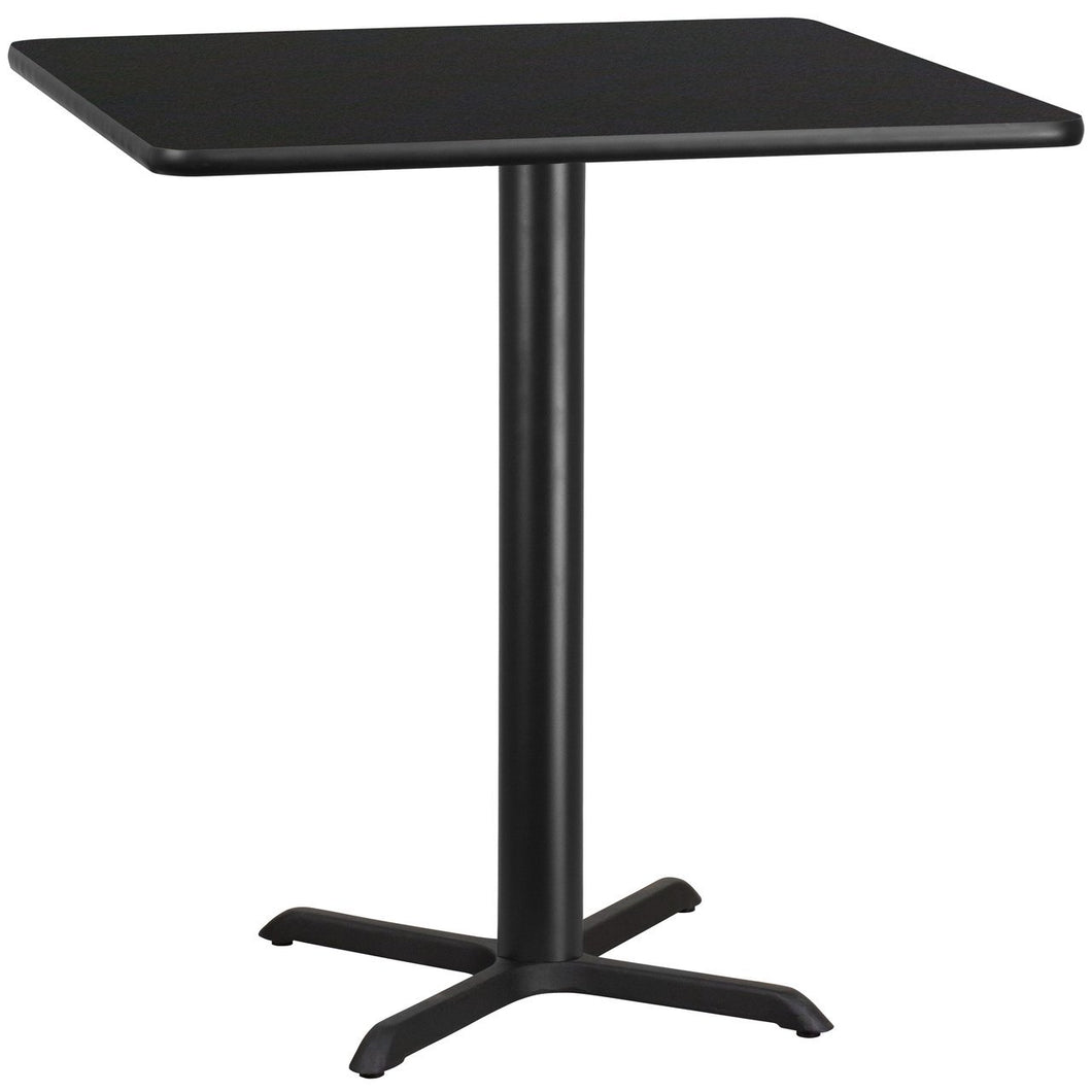 42'' Square Black Laminate Table Top with 33'' x 33'' Bar Height Table Base