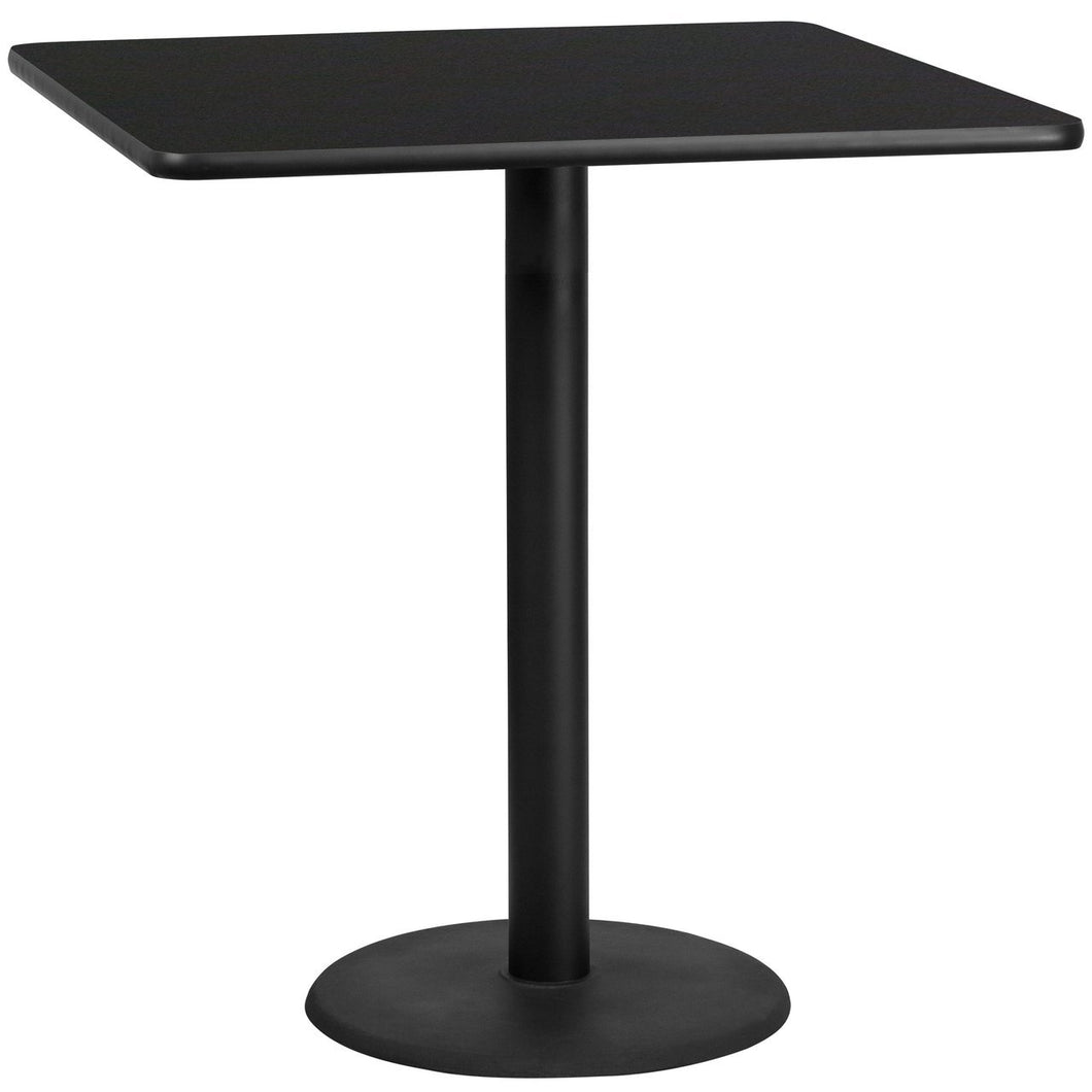 42'' Square Black Laminate Table Top with 24'' Round Bar Height Table Base