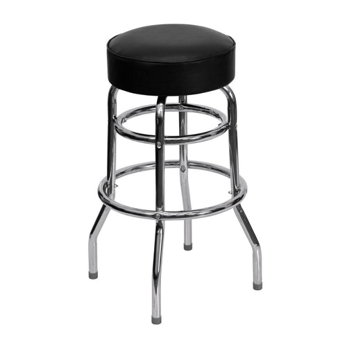 Double Ring Chrome Barstool with Black Seat