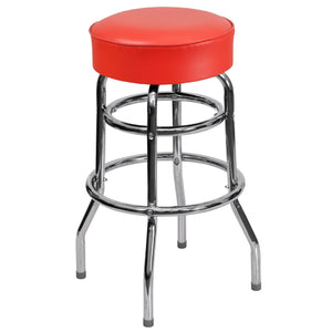 Double Ring Chrome Barstool with Red Seat