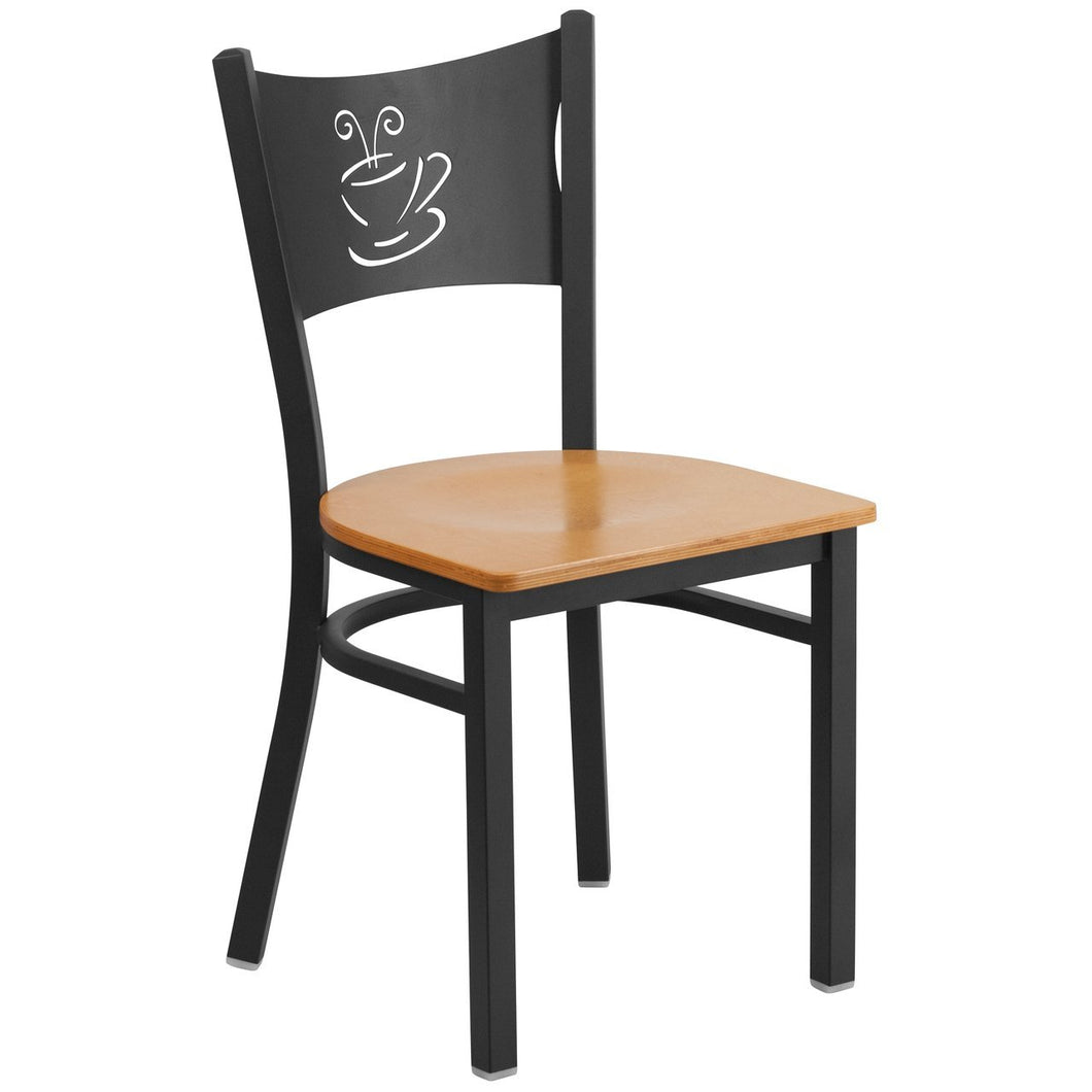 HERCULES Series Black Coffee Back Metal Restaurant Chair - Natural Wood Seat