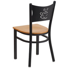 Load image into Gallery viewer, HERCULES Series Black Coffee Back Metal Restaurant Chair - Natural Wood Seat