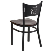 Load image into Gallery viewer, HERCULES Series Black Coffee Back Metal Restaurant Chair - Walnut Wood Seat
