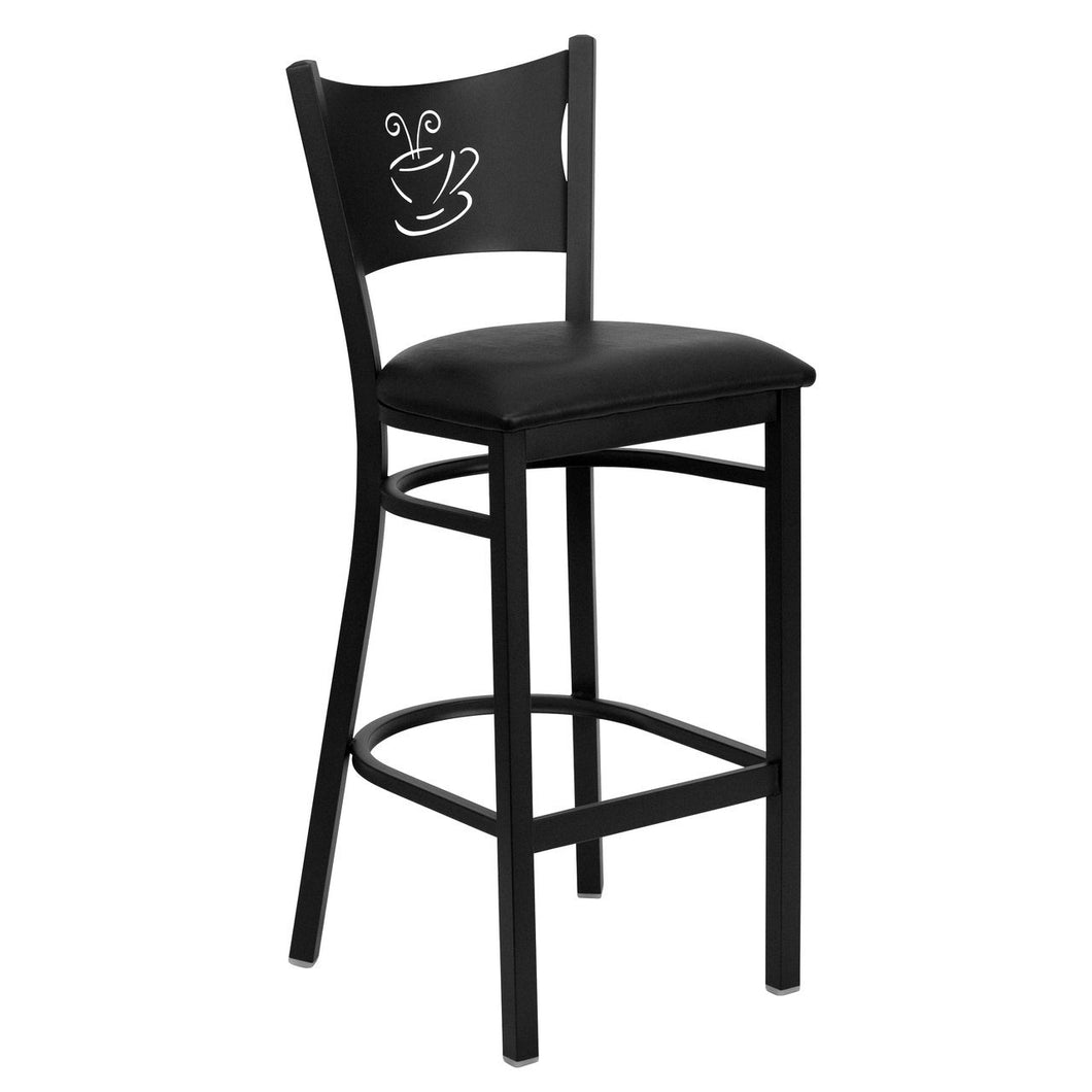 HERCULES Series Black Coffee Back Metal Restaurant Barstool - Black Vinyl Seat
