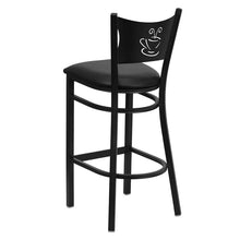 Load image into Gallery viewer, HERCULES Series Black Coffee Back Metal Restaurant Barstool - Black Vinyl Seat