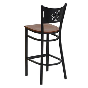 HERCULES Series Black Coffee Back Metal Restaurant Barstool - Cherry Wood Seat