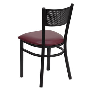 HERCULES Series Black Grid Back Metal Restaurant Chair - Burgundy Vinyl Seat