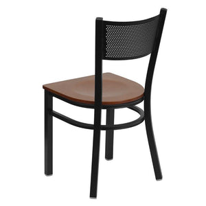 HERCULES Series Black Grid Back Metal Restaurant Chair - Cherry Wood Seat