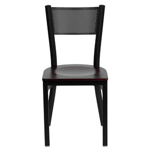 HERCULES Series Black Grid Back Metal Restaurant Chair - Mahogany Wood Seat