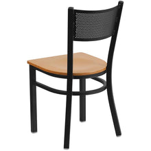 Load image into Gallery viewer, HERCULES Series Black Grid Back Metal Restaurant Chair - Natural Wood Seat