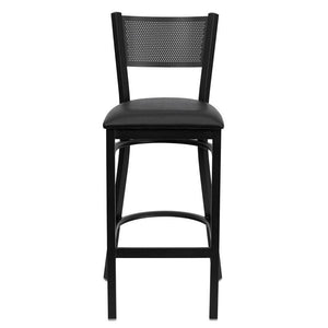 HERCULES Series Black Grid Back Metal Restaurant Barstool - Black Vinyl Seat