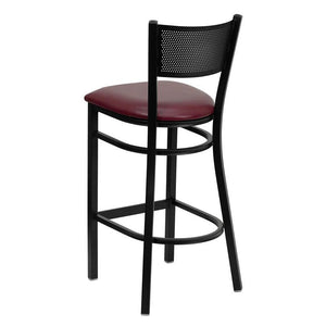 HERCULES Series Black Grid Back Metal Restaurant Barstool - Burgundy Vinyl Seat