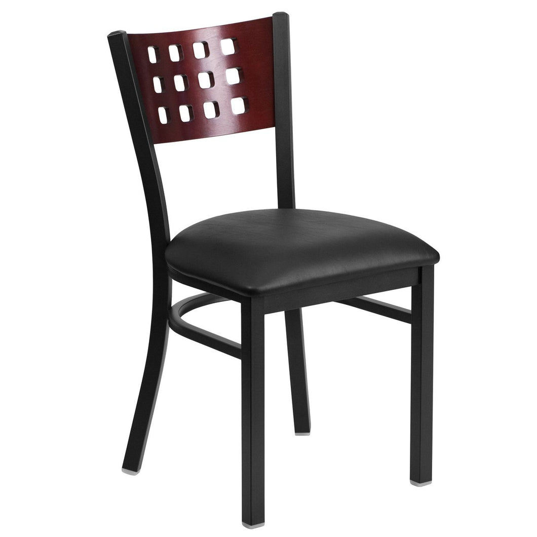 HERCULES Series Black Cutout Back Metal Restaurant Chair - Mahogany Wood Back, Black Vinyl Seat