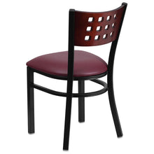 Load image into Gallery viewer, HERCULES Series Black Cutout Back Metal Restaurant Chair - Mahogany Wood Back, Burgundy Vinyl Seat