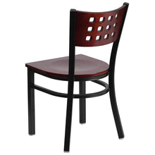Load image into Gallery viewer, HERCULES Series Black Cutout Back Metal Restaurant Chair - Mahogany Wood Back & Seat