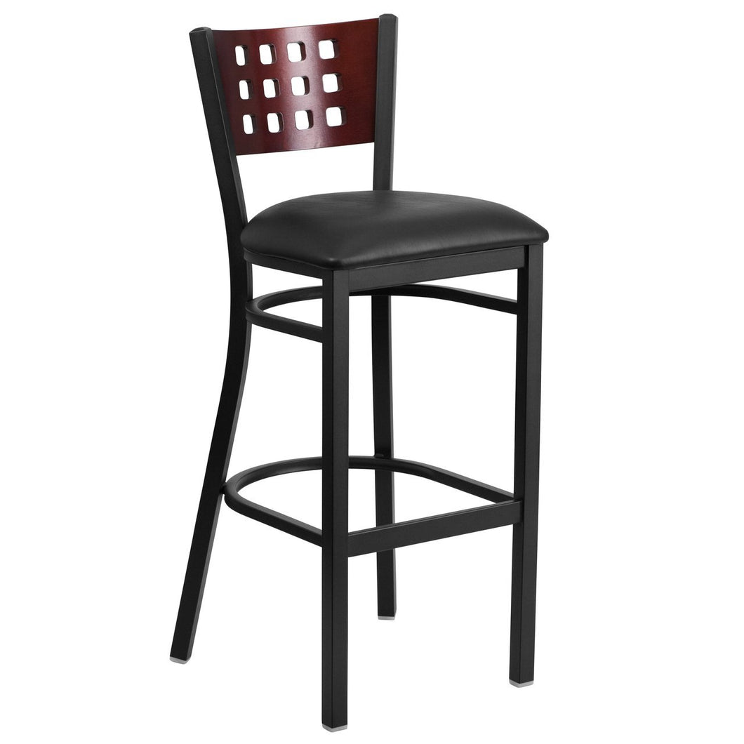 HERCULES Series Black Cutout Back Metal Restaurant Barstool - Mahogany Wood Back, Black Vinyl Seat