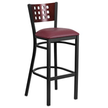 Load image into Gallery viewer, HERCULES Series Black Cutout Back Metal Restaurant Barstool - Mahogany Wood Back, Burgundy Vinyl Seat