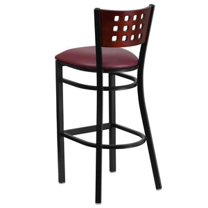 HERCULES Series Black Cutout Back Metal Restaurant Barstool - Mahogany Wood Back, Burgundy Vinyl Seat