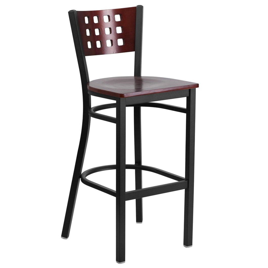 HERCULES Series Black Cutout Back Metal Restaurant Barstool - Mahogany Wood Back & Seat
