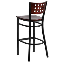 Load image into Gallery viewer, HERCULES Series Black Cutout Back Metal Restaurant Barstool - Mahogany Wood Back & Seat