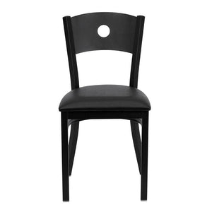 HERCULES Series Black Circle Back Metal Restaurant Chair - Black Vinyl Seat