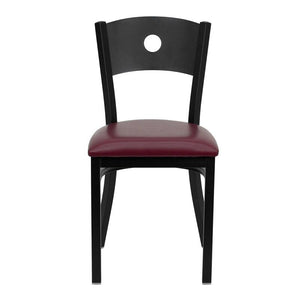 HERCULES Series Black Circle Back Metal Restaurant Chair - Burgundy Vinyl Seat