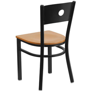 HERCULES Series Black Circle Back Metal Restaurant Chair - Natural Wood Seat