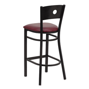 HERCULES Series Black Circle Back Metal Restaurant Barstool - Burgundy Vinyl Seat