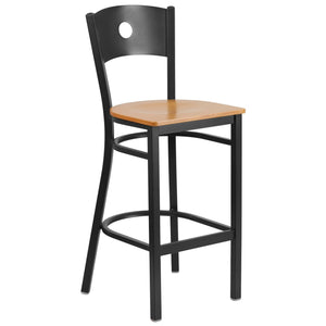 HERCULES Series Black Circle Back Metal Restaurant Barstool - Natural Wood Seat