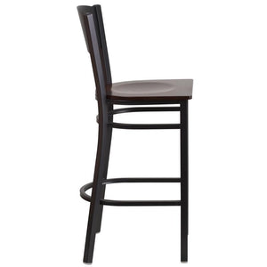 HERCULES Series Black Circle Back Metal Restaurant Barstool - Walnut Wood Seat