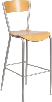 Invincible Series Silver Metal Restaurant Barstool - Natural Wood Back & Seat