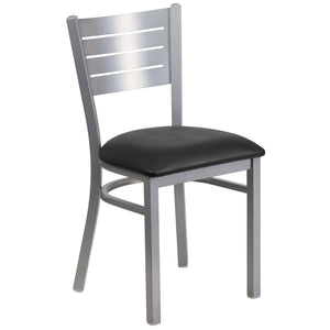 HERCULES Series Silver Slat Back Metal Restaurant Chair - Black Vinyl Seat