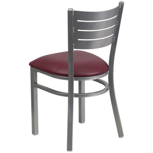 HERCULES Series Silver Slat Back Metal Restaurant Chair - Burgundy Vinyl Seat
