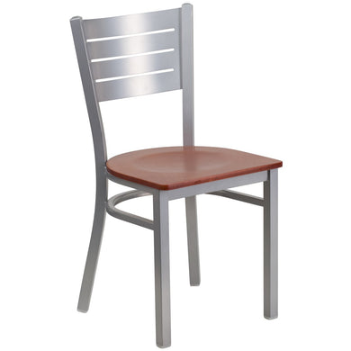 HERCULES Series Silver Slat Back Metal Restaurant Chair - Cherry Wood Seat
