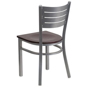 HERCULES Series Silver Slat Back Metal Restaurant Chair - Mahogany Wood Seat