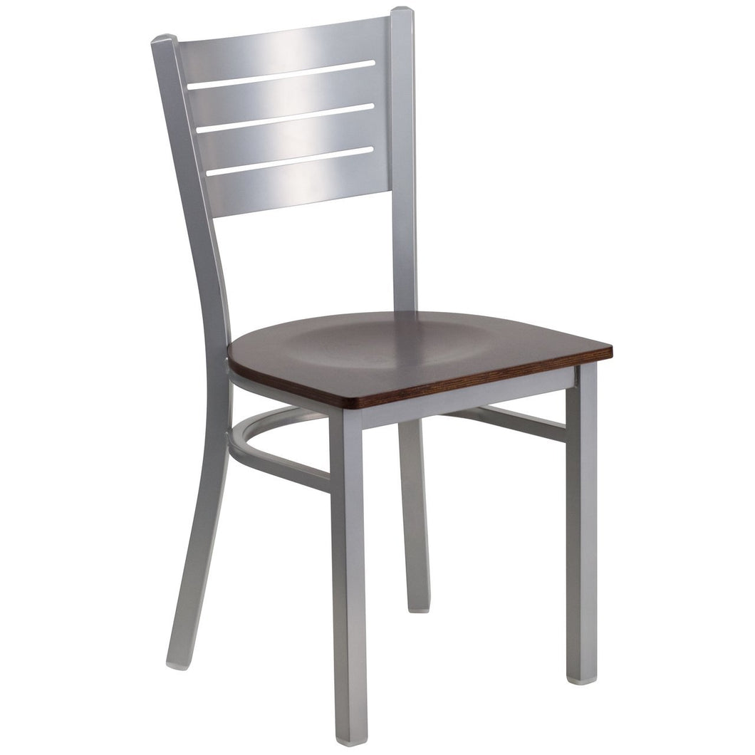 HERCULES Series Silver Slat Back Metal Restaurant Chair - Walnut Wood Seat