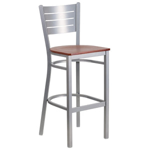 HERCULES Series Silver Slat Back Metal Restaurant Barstool - Cherry Wood Seat