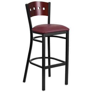 HERCULES Series Black 4 Square Back Metal Restaurant Barstool - Mahogany Wood Back, Burgundy Vinyl Seat