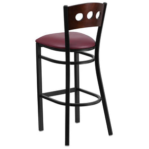 HERCULES Series Black 3 Circle Back Metal Restaurant Barstool - Walnut Wood Back, Burgundy Vinyl Seat