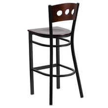 Load image into Gallery viewer, HERCULES Series Black 3 Circle Back Metal Restaurant Barstool - Walnut Wood Back & Seat